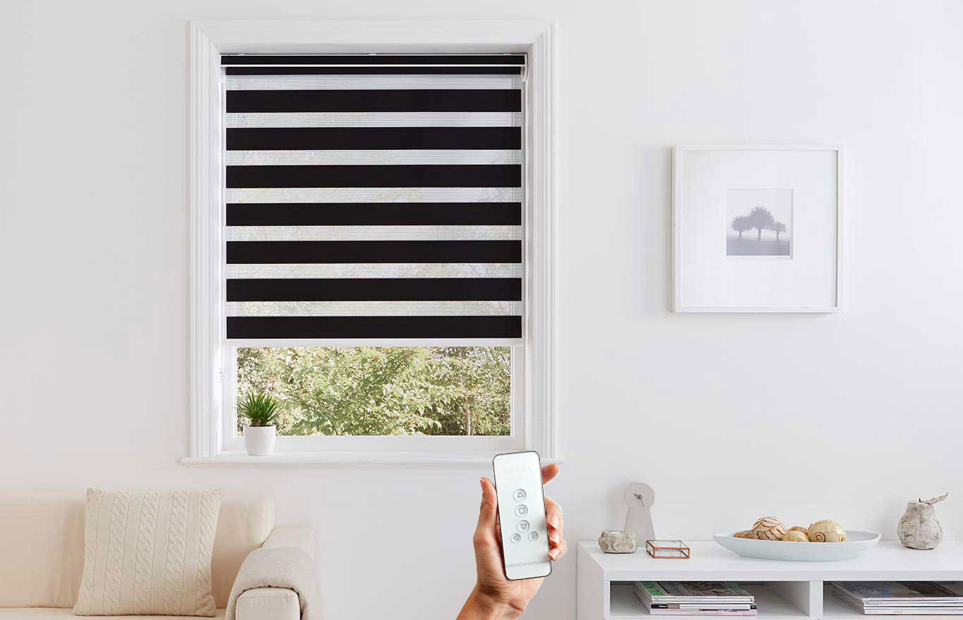 Hull two tone motorised blinds